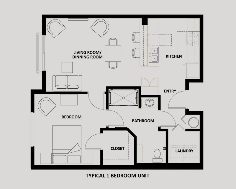 The Minuet 1 bedroom apartment floor plan