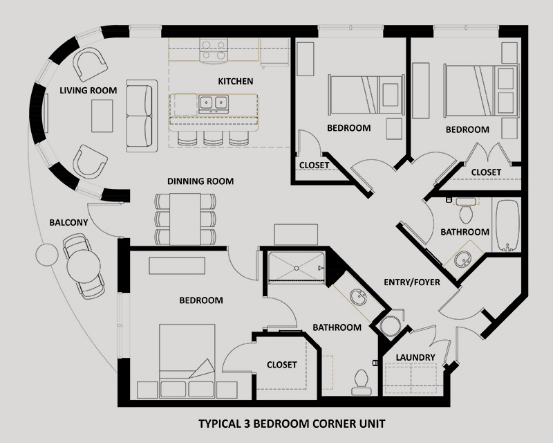 The Waltz 3 Bedroom Apartment Floor Plan