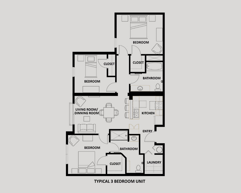 The Tres 3 bedroom apartment floor plan