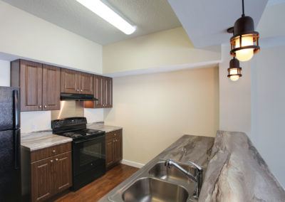 typical kitchen finishes at The Tempo at ENCORE! apartments in Tampa