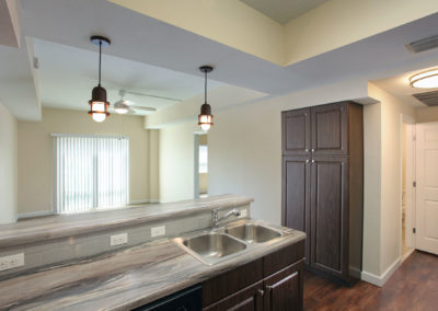 typical kitchen finishes and living room at The Tempo at ENCORE! apartments in Tampa
